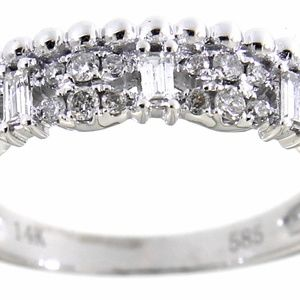 Solid 14K White Gold Diamond Cocktail Ring